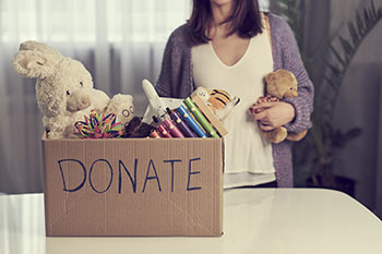 Donations collected in a box.
