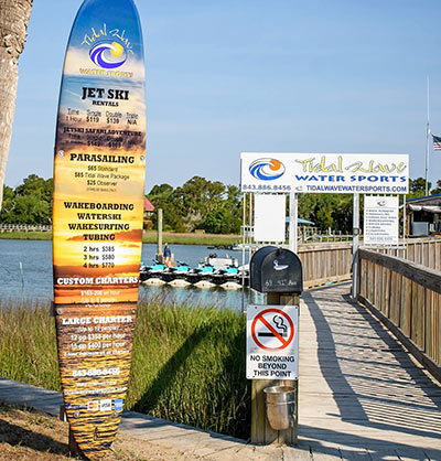 Tidal Wave Water Sports sign in Isle of Palms, SC