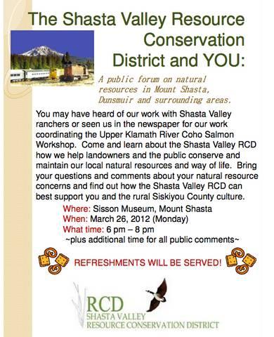 Shasta Valley Resource Conservation District Forums