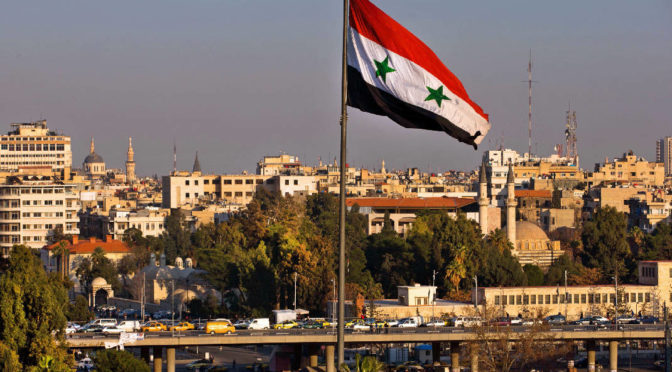 syria flag skying