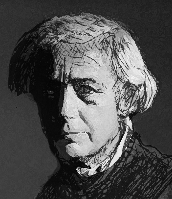 A drawing of French filmmaker Robert Bresson.