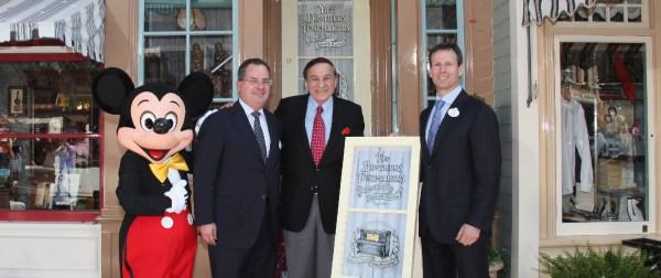 Disneyland presents the Sherman brothers with window on Main Street U.S.A.