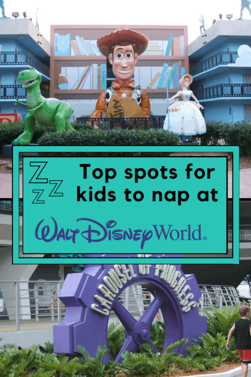Top spots for helping little ones doze off without having to return to the hotel. This is how to induce nap time at Walt Disney World #Disney #DisneyKids #WaltDisneyWorld #DisneyWorld #FamilyTravel #Travel