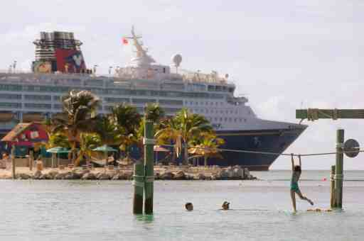 Castaway Cay, Disney's private island paradise in the Bahamas, features separate beaches for families, adults, and teens. At the family beach, children will have a ball on the water play structure designed just for them