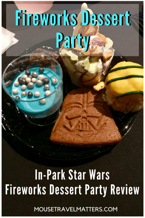 Fireworks Dessert Party; At present Disney is offering the Star Wars: A Galactic Spectacular Dessert Party at Hollywood Studios, and the Frozen Ever After Dessert Party at Epcot, which pairs desserts and a ride on the Frozen Ever After attraction with a showing of IllumiNations.