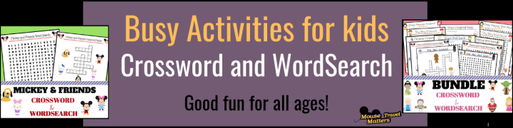 Busy activities for kids - crossword and wordsearch Disney themed