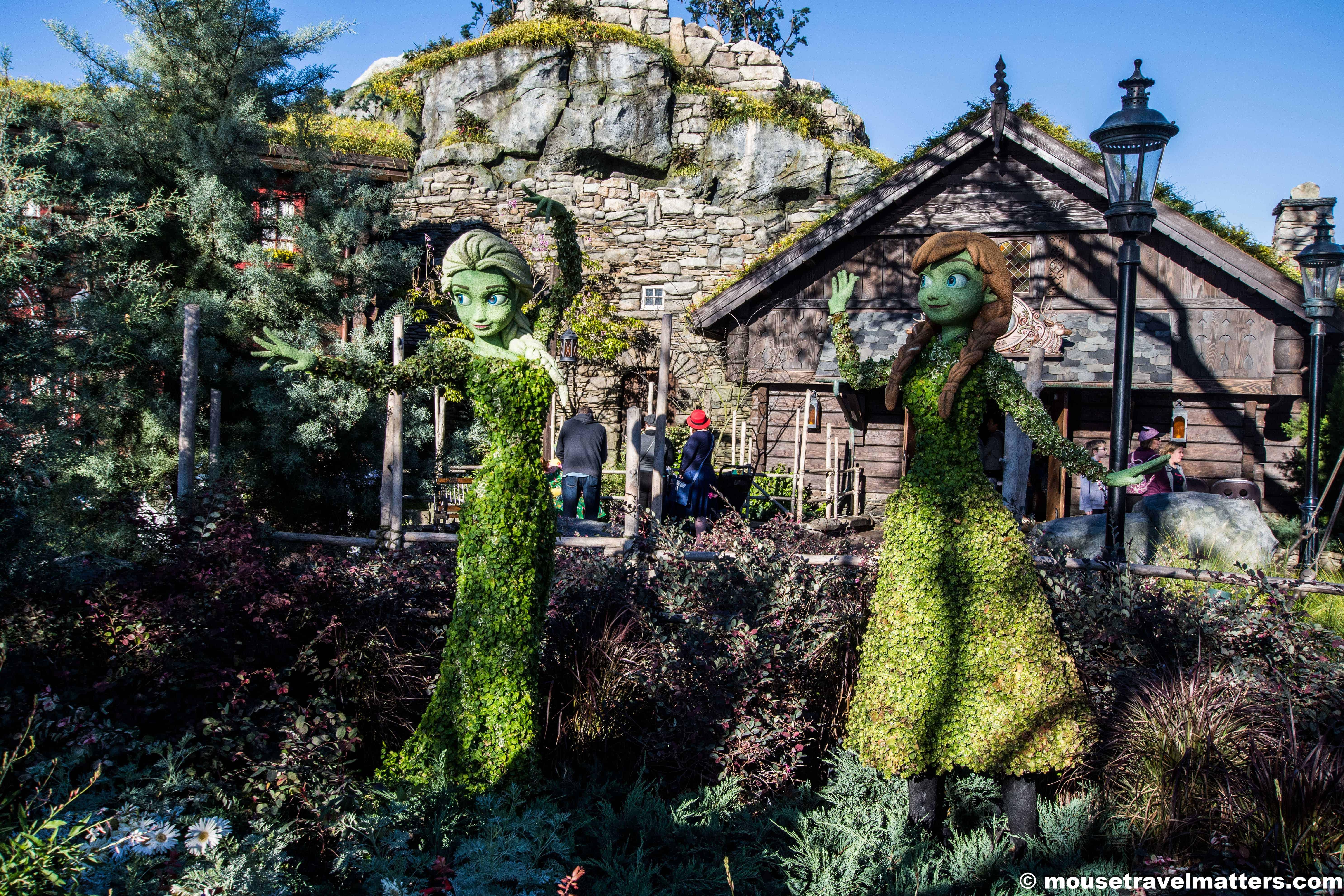 Elsa & Anna Topiary Norway Pavilion