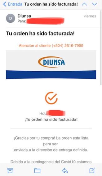 Experiencia compra Diunsa Online