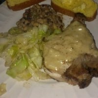 Pork Loin Roast with Mustard Sauce, Guinness Boiled Cabbage, and Crock-Pot Black-Eyed Peas