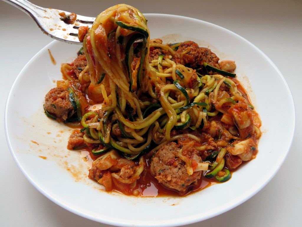 Zoodles with Chicken Sausage and Mushrooms - recipe at Mouth Half Full
