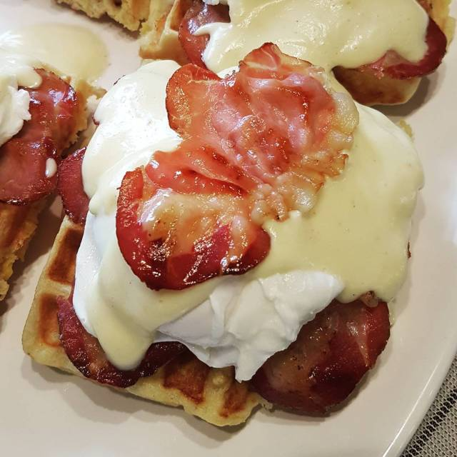 Lobster cornbread waffleshomemade prosciutto benny Dad went to town yegfood