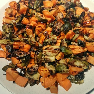 Roasted Brussels Sprouts and Sweet Potatoes with Maple Balsamic Drizzle - recipe at Mouth Half Full