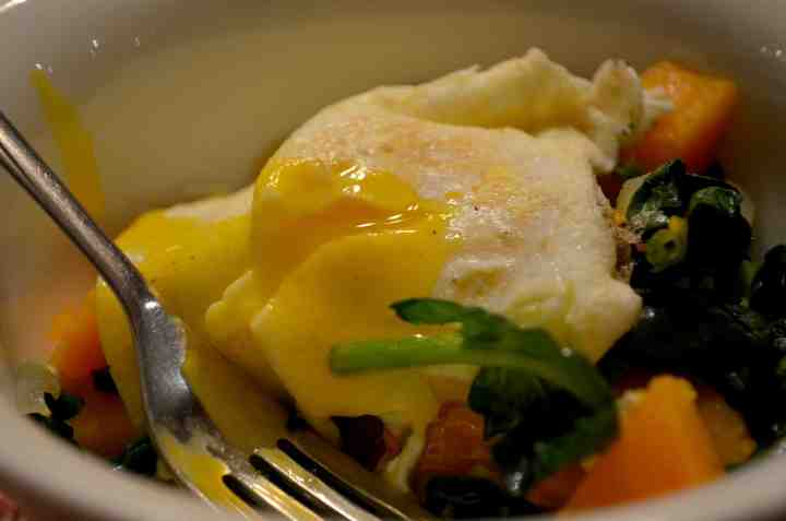 Sunnyside-Up Egg Over Spinach & Butternut Squash