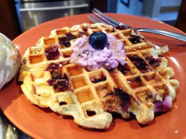 I'm Back…Lemon Blueberry Cheesecake Waffles