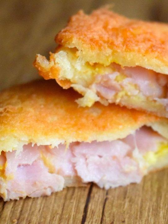 keto fried ham and cheese sandwiches