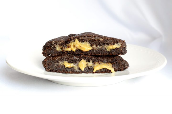 keto chewy chocolate caramel filled cookies
