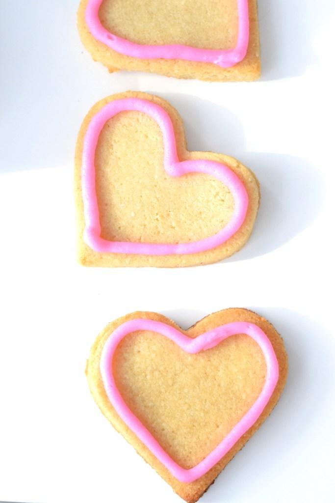 keto heart shaped valentines sugar cookies