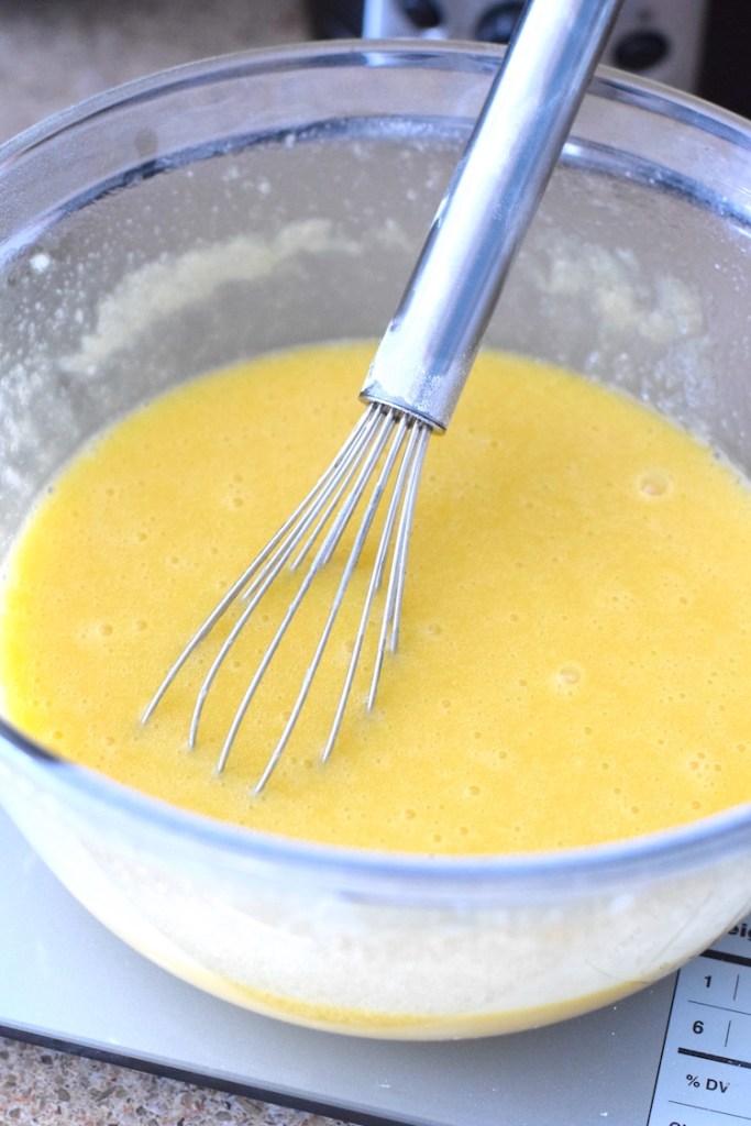 whisked eggs, heavy cream, coconut oil