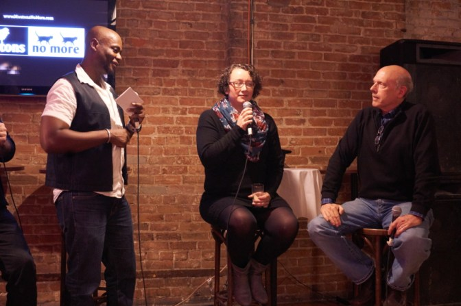 Host Guy Renaud, comedian Gina Granter, and Eric