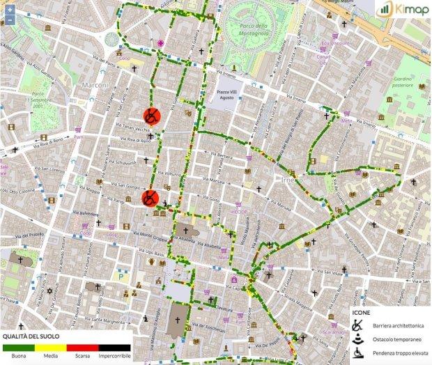 Mappa dell'accessibilità di Bologna