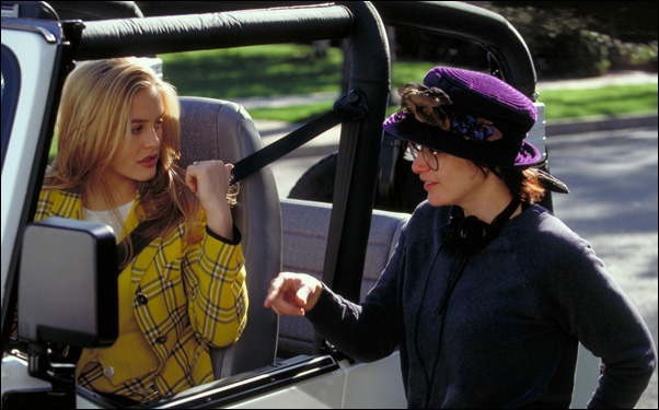 """Amy Heckerling and Alicia Silverstone on the set of """"Clueless"""""""
