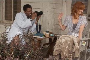 "Denzel Washington and Kelly Reilly in a scene from Robert Zemeckis' film ""Flight"""