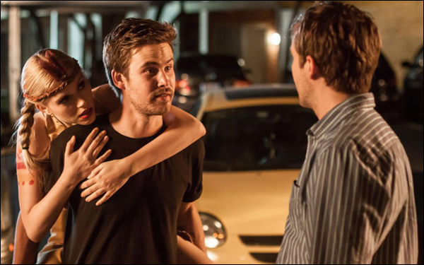Zach Cregger and Michael Stahl-David in a scene from Bryan Poyser's film The Bounceback