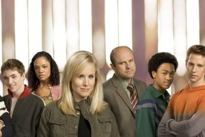 Ryan Hansen, Kyle Gallner, Tessa Thompson, Kristen Bell, Enrico Colantoni, Percy Daggs, Jason Dohring, and Francis Capra in Rob Thomas' Veronica Mars