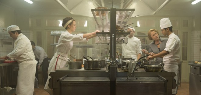 "Charlotte Le Bon, Manish Dayal and Helen Mirren in ""The Hundred Foot Journey"""