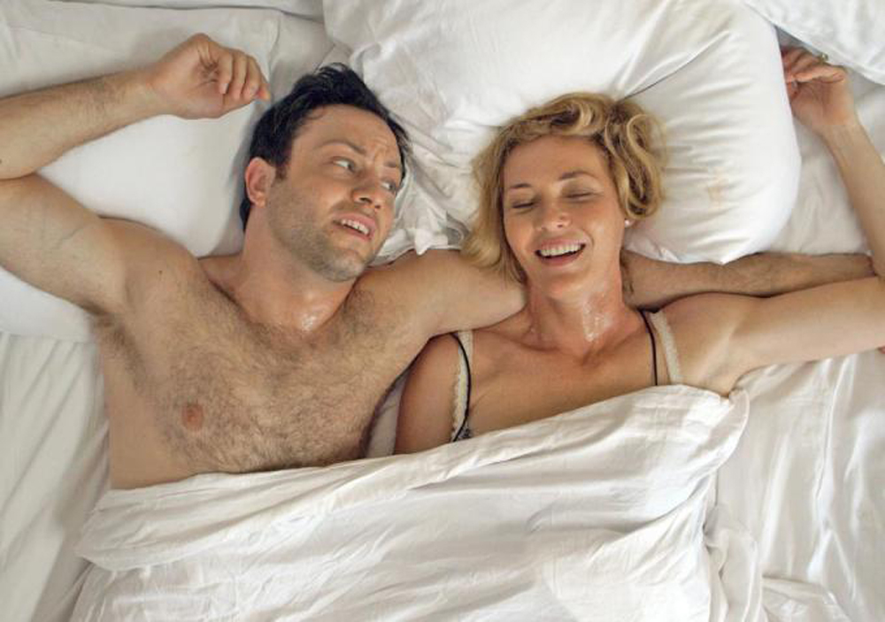 """Jonathan Sadowski and Connie Nielsen in """"All Relative"""""""