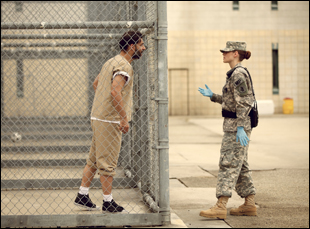 "Peyman Moaadi and Kristen Stewart in ""Camp X-Ray"""