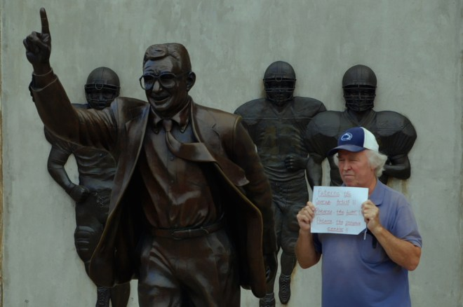 "At the Joe Paterno statue at Penn State in ""Happy Valley"""
