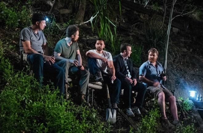 "Jake Johnson, Mike Birbiglia, Sam Rockwell in ""Digging for Fire"""