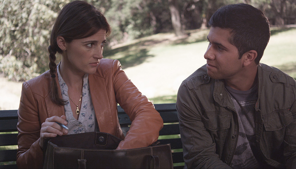 "Nicole Hayden and Walter Perez in ""The Park Bench"""
