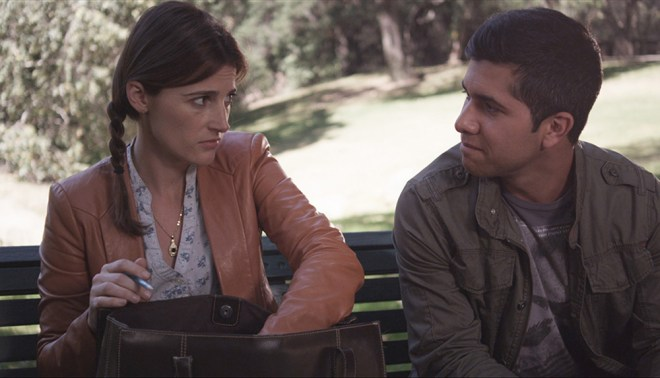"Nicole Hayden and Walter Perez in ""The Park Bench"""