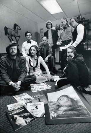 Henry Beard, Michael Gross, Matty Simmons, Brian McConnachie, Len Mogel , Michael O'Donoghue, Barbara Atti, and David Kaestle in DRUNK STONED BRILLIANT DEAD: THE STORY OF THE NATIONAL LAMPOON