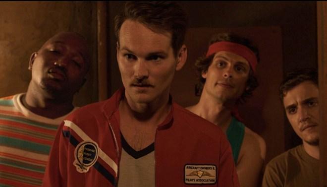 """Adam Nee, Matthew Gray Gubler, Hannibal Burress, Kyle Gallner in """"Band of Robbers"""""""