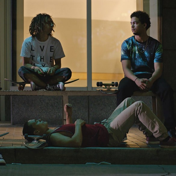 "Ravi Gavron, Moises Arias, Jorge Lendeborg Jr. and Ezri Walker in ""The Land"""