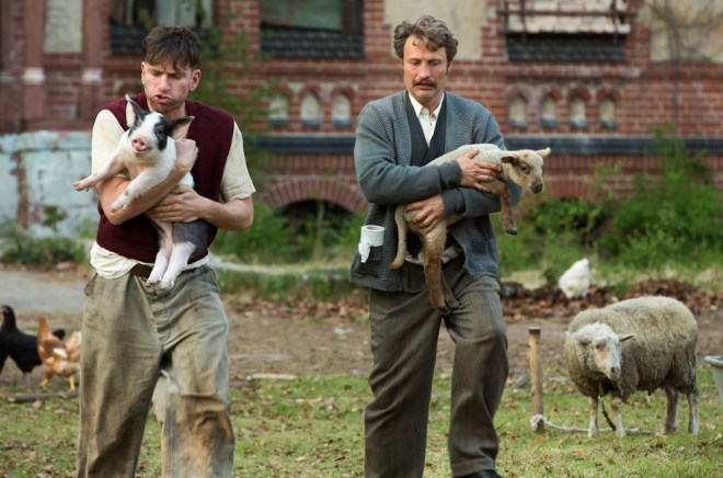 "Nikolaj Lie Kaas and Mads Mikkelsen in ""Men & Chicken"""