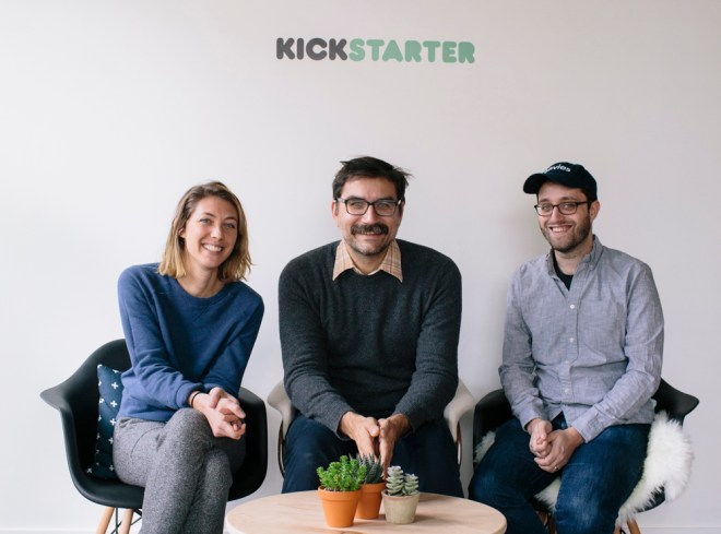 Liz Cook, George Schmalz and Dan Schoenbrun at Kickstarter HQ
