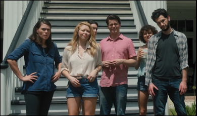 "Clea Duvall, Natasha Lyonne, Jason Ritter, Alia Shawkat, Melanie Lynskey and Ben Schwartz in ""The Intervention"""