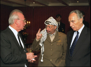 "Yitzhak Rabin, Yasser Arafat and Shimon Peres in ""The Oslo Diaries"""