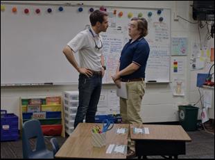 """Jim Cummings and Macon Blair in """"Thunder Road"""""""