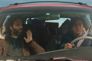 "Jason Mantzoukas and Tony Revolori in ""The Long Dumb Road"""