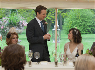 """Rafe Spall and Rose Byrne at a wedding in Dan Mazer's comedy """"I Give It a Year"""""""