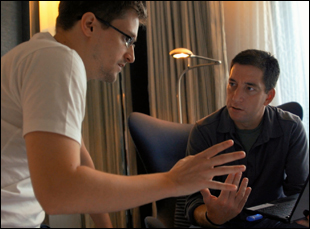 "Edward Snowden and Glenn Greenwald in Hong Kong in ""Citizenfour"""
