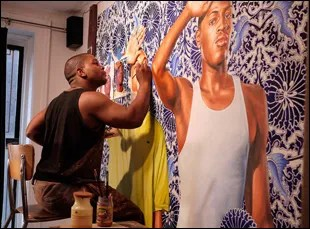 "Kehinde Wiley painting in ""Kehinde Wiley: An Economy of Grace"""