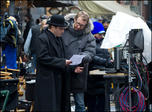 "James Gray and Joaquin Phoenix on the set of ""The Immigrant"""