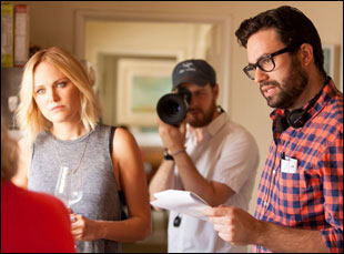"Malin Akerman and Brett Haley on the set of ""I'll See You in My Dreams"""