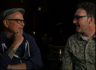 "Bobcat Goldthwait and Tom Kenny in ""Call Me Lucky"""